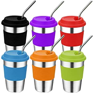 Stainless Steel Kids Cups with Lids and Straws,16oz Spill Proof Kids Tumblers with Straws,Metal Kids Smoothie Cups with Straws,Unbreakable Travel Sippy Cups for School,Camping,Milk,Hot Drinks
