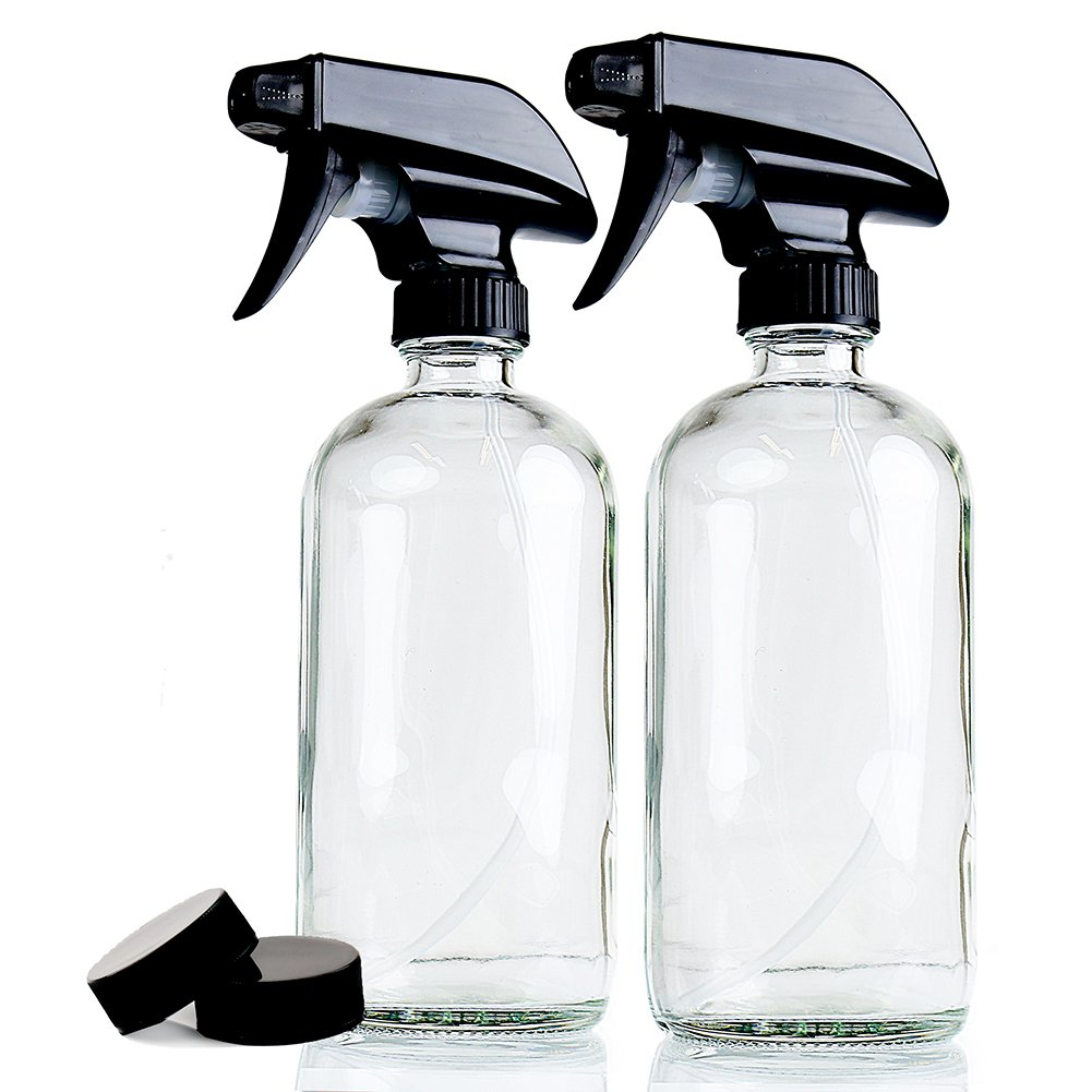 Empty Clear Glass Spray Bottles | 2 Pack 16 Oz Refillable Sprayer for Essential Oil | Water, Kitchen, Bath, Beauty, Hair, Cleaning | Durable Trigger Sprayer With Mist & Stream Modes & 2 Storage Caps