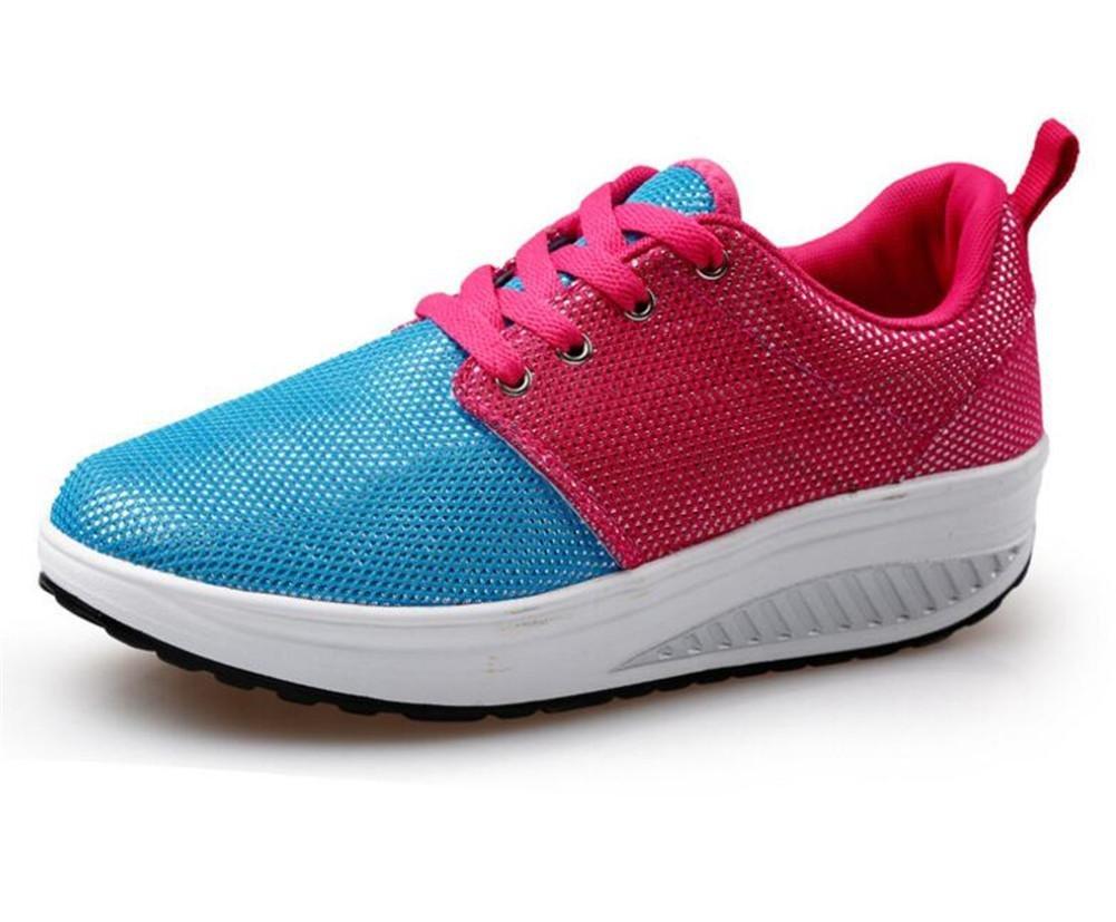 XIE Damen-Damen-Wedge-Ferse-beiläufige Rutschfeste Schuhe Netz-Garn Breathable Bügel-Schlag-Absorptions-Frühling und Sommer-Schüttel-Schuhe