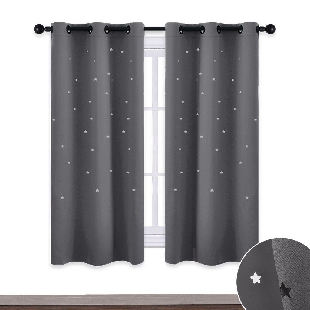 NICETOWN Star Kids Blackout Curtains - Star Shaped Cut Outs Room Darkening Drapes for Kids Room/Space Themed/Nursery / Boys Bedroom Decor, 2 Panels, 42'' Wide x 63'' Long, Grey