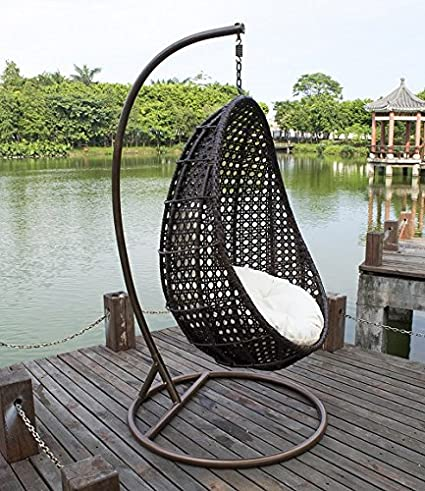Gentil Outdoor Wicker Hanging Egg Chair, Island Gale Patio Swinging Chair With  Stand And Cushion For