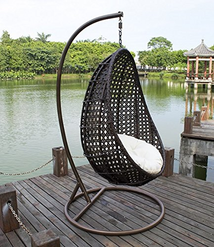 Outdoor Wicker Hanging Egg Chair, Island Gale Patio Swinging Chair with Stand and Cushion for indoor and outdoor - with Head Pillow for Extra Comfort, Mix Brown, White