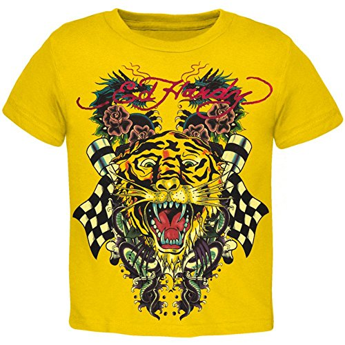 (Ed Hardy - Tiger and Dragon Roar Yellow Youth T-Shirt - Youth)