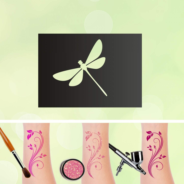 Plantilla para tatuajes, libélula, autoadhesiva, para maquillaje ...
