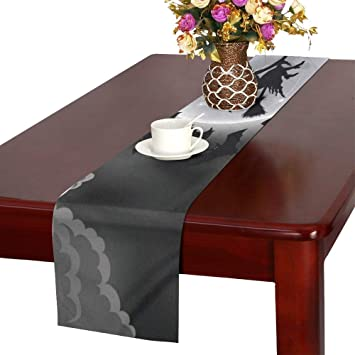 Amazon com: WUTMVING Flying Witch Table Runner, Kitchen