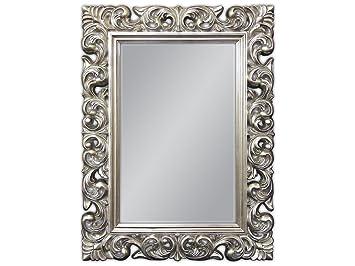 Barockspiegel Wandspiegel Repro ANTIK BAROCK Schwarz Silber Dualcolor 50X76 cm