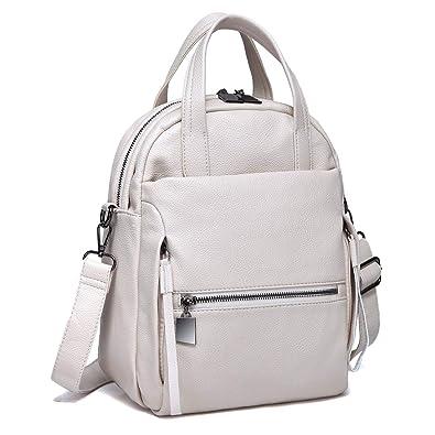 Kasqo Backpack Purse, Women Convertible Faux Leather Ladies Shoulder Bag  Beige 8f37175688