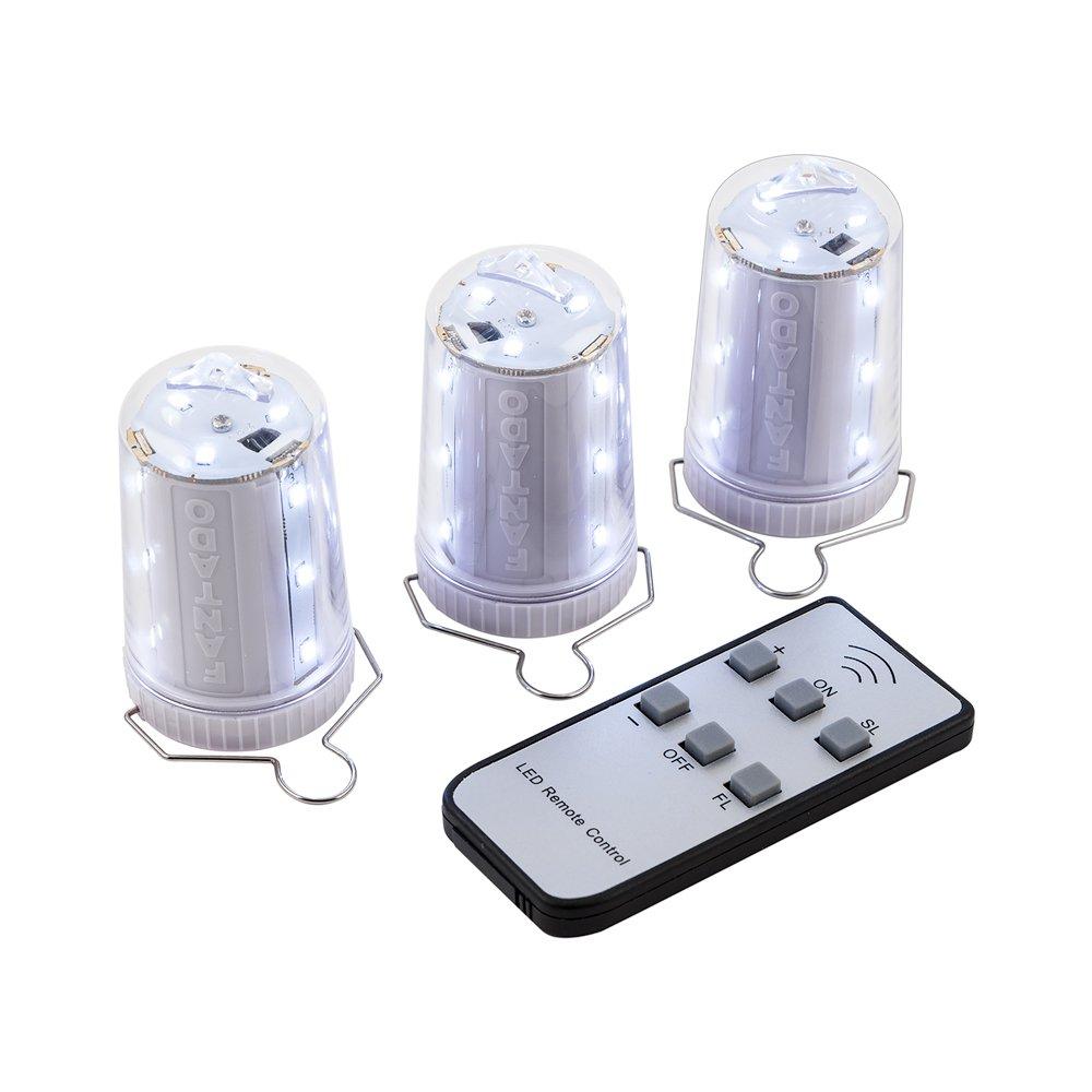 Fantado PaperLanternStore.com 3-Pack Kit w/Remote Control Cool White 12-LED Omni360 Portable Battery Powered Lantern Light by