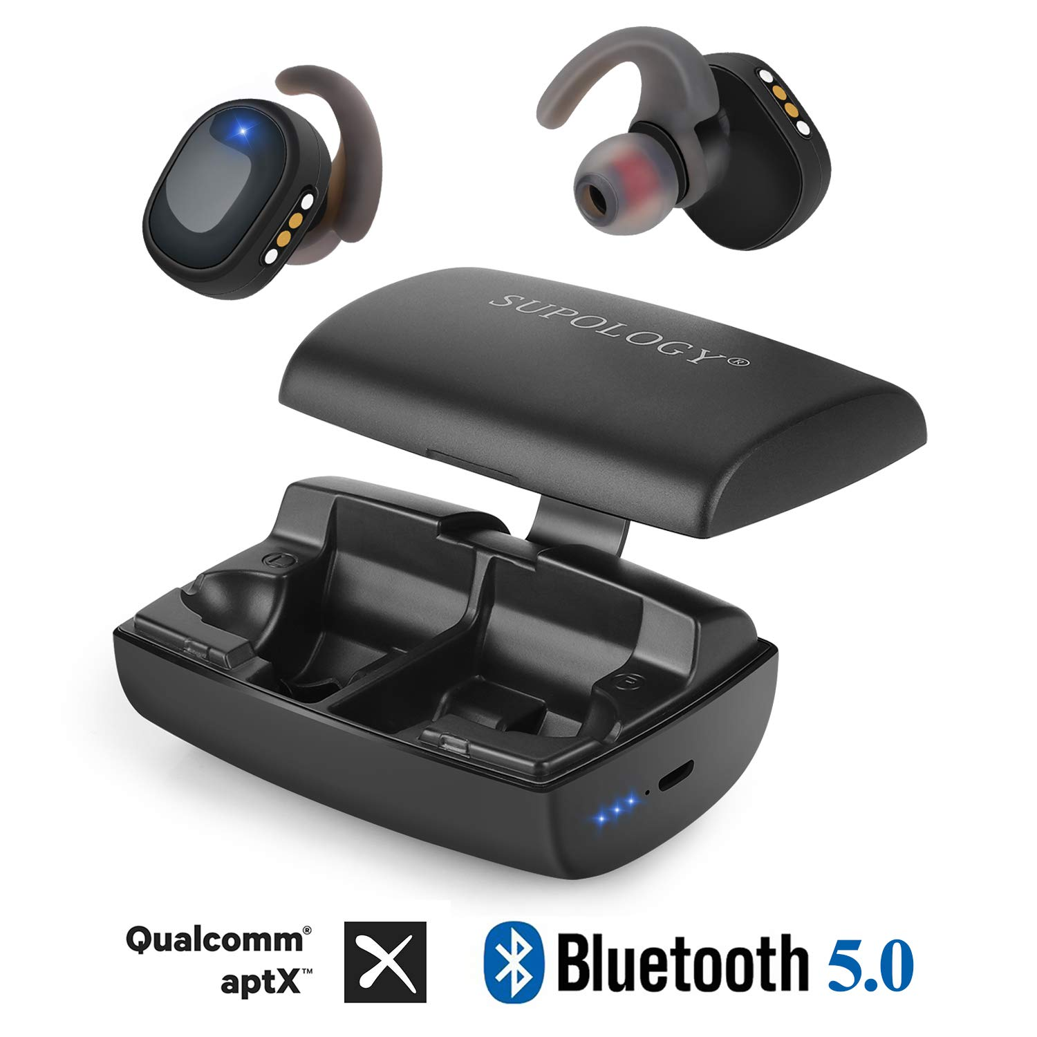 SUPOLOGY Wireless Earbuds, AptX HD Stereo Bluetooth 5.0 Earphones with 3000mAh Power Bank Magic Switch Charging Case, IPX7 Waterproof 400H Playtime in-Ear Built-in Mic Wireless Headphones for Sports