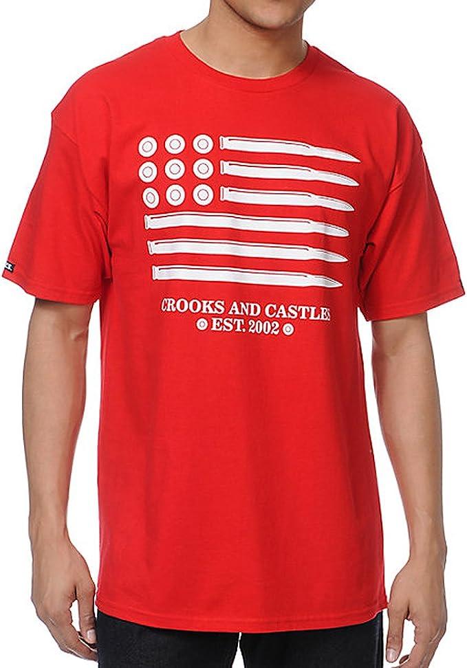 Crooks & Castles – Camiseta de manga corta de bandera de munición: Amazon.es: Ropa y accesorios