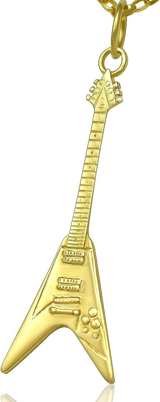 Solid 9ct oro Gibson Flying V del collar de la guitarra eléctrica ...