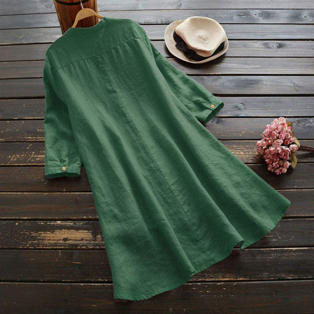 KUDICO Womens Linen Shirts Tops Loose Plus Size Long Sleeve Ladies Casual Thin Solid Color Button Pullover Blouse Tunic