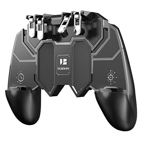 Mobile Game Controller with 4 Triggers Compatiple for PUBG/Fortnite [6  Finger Operation], L1R1 L2R2 Grip Gamepad Joystick Remote Shoot Aim Key for