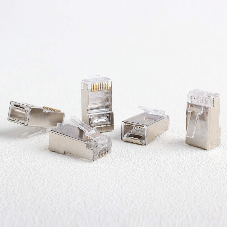 CAT5E 100pcs Saisn Shielded CAT5 CAT5E Crimp Connector 8P8C STP Ethernet Cable Modular Plug