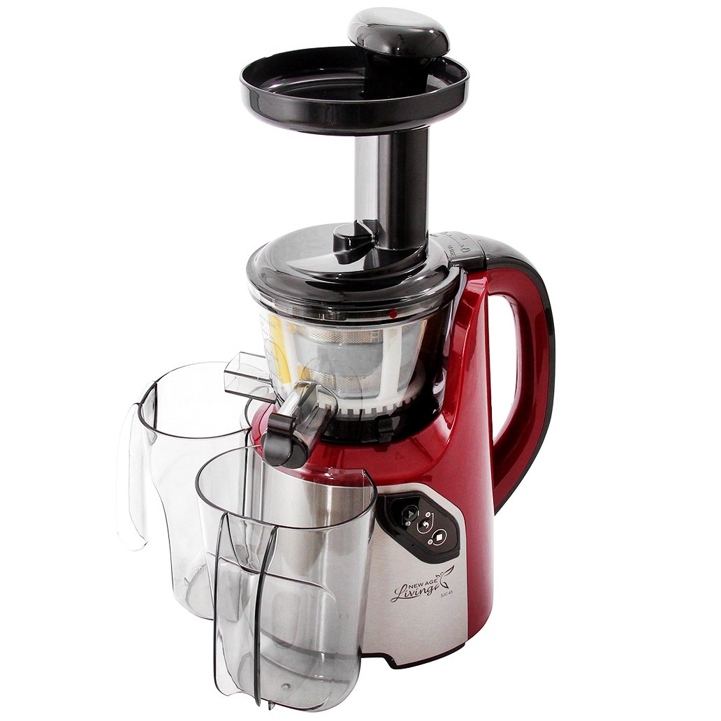New Age Living SJC-45 Masticating Slow Juicer - 5 Year Warranty - Juice Fruits, Vegetables, Greens, Wheat Grass & More - Make Pro Quality Healthy Juices At Home (RED) by New Age Living (Image #1)