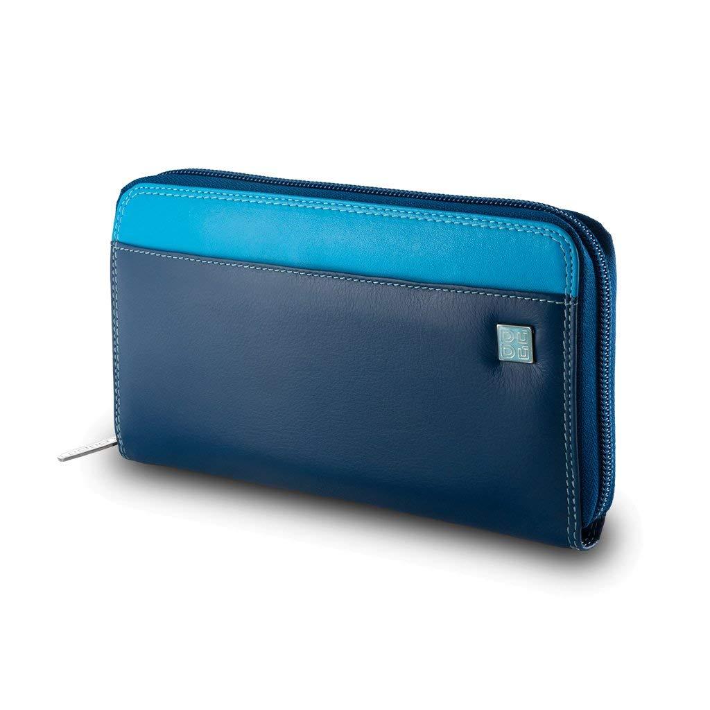 Portafoglio donna grande di vera pelle colorato zip around DUDU Blu Dudu Bags 8031847130188