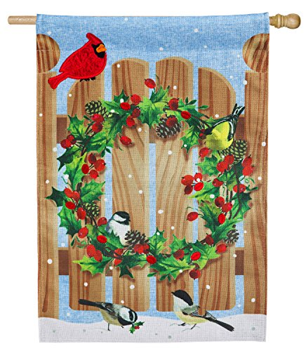 Evergreen Holly Wreath on Fence Door Burlap House Flag, 28 x 44 inches Review