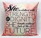 Inspirational Quotes Bible Verse Pillow Case Cushion Cover for Sofa Couch Home Decoration Pillows Decorative Christian Pillowcase 18×18