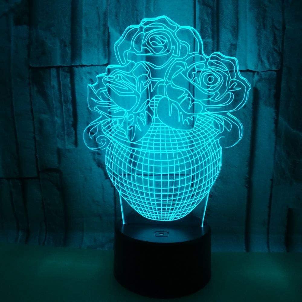 BFMBCHDJ Creative 3D Potted Rose Jarrón Stereo Night Light Acrílico Led Touch Remote 3D Small Lámpara de mesa A4 White crack base + control remoto: Amazon.es: Iluminación