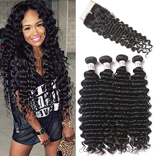 Brazilian Deep Wave 4 Bundles With Closure 8a Unprocessed Virgin Deep Wave Curly Human Hair Weave Extensions With Middle Part 4x4 Lace Top Closure Natural Color (20 22 24 26+16 lace clsoure) (Closure Four)