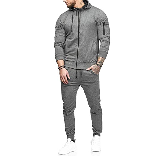 Amazon.com: KFSO Mens Autumn Drawstring Zipper Sweatshirt Top Pants Sets Sports Suit Tracksuit (Army Green, 2XL): Kitchen & Dining