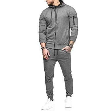 YOcheerful Mens Sports Suit Top Pants Sets Sweatshirt Hooded Pullover Sportswear (B-Gray,