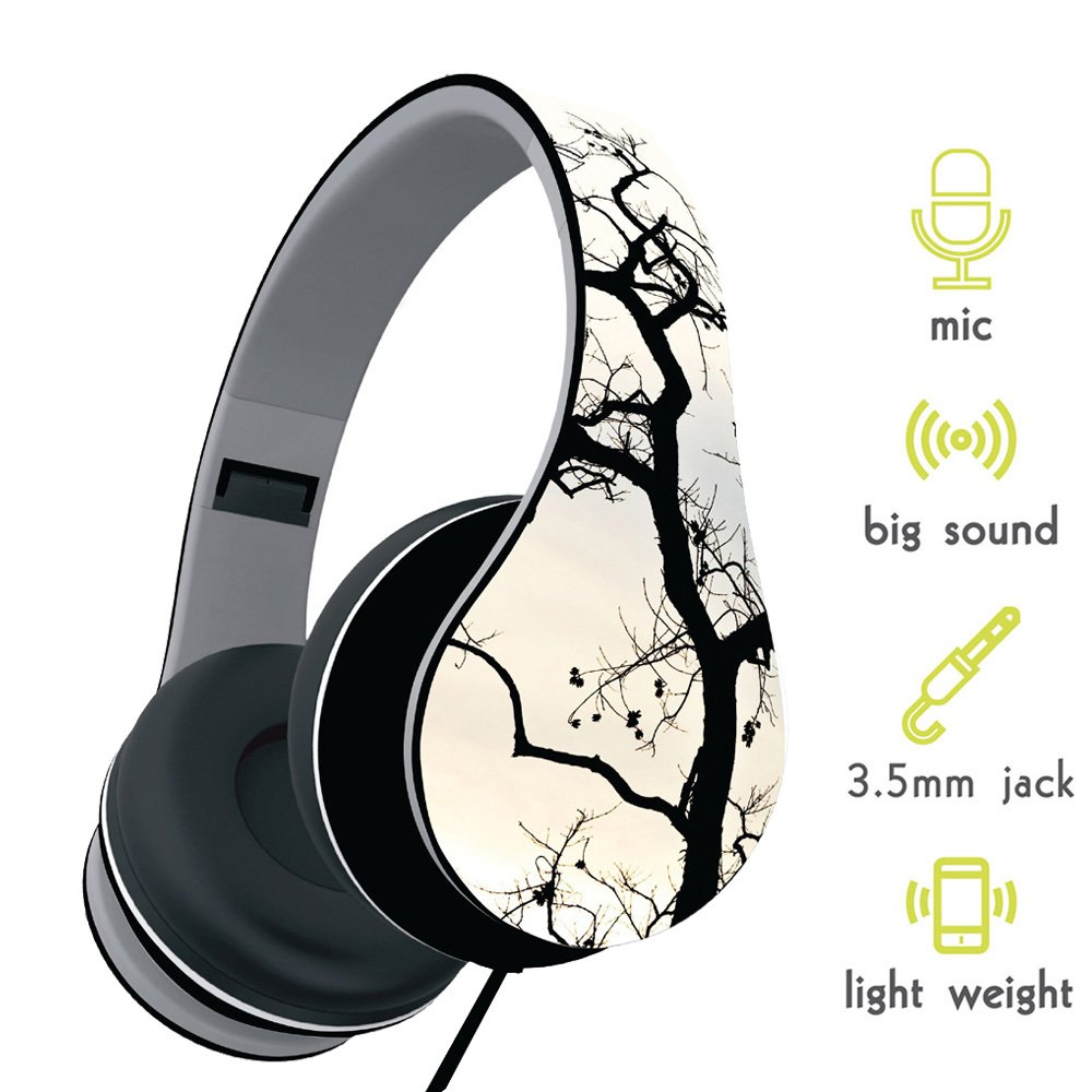 show wish Headphones, Headset with Microphone and Volume Control, Lightweight Foldable Headphones for iPhone/smart phones and tablet/pc (Branch)