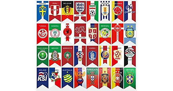 124e5443a 2018 FIFA World Cup Top 32 Hanging Banners International Flag Bunting for Bar  Party Decorations 32 Countries Flags 30x20 CM-ejv: Amazon.ae: WLFF