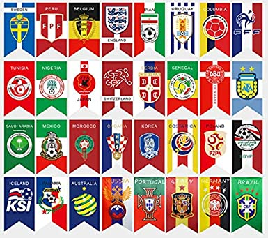 e419fc9c5 2018 FIFA World Cup Top 32 Hanging Banners International Flag Bunting for Bar  Party Decorations 32