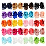20pcs 6'' Sparkling Grosgrain Boutique Ribbon Hair Bows Clips Baby Girl Clips for Girls Toddlers Infants Teens Kids Hair Accessories