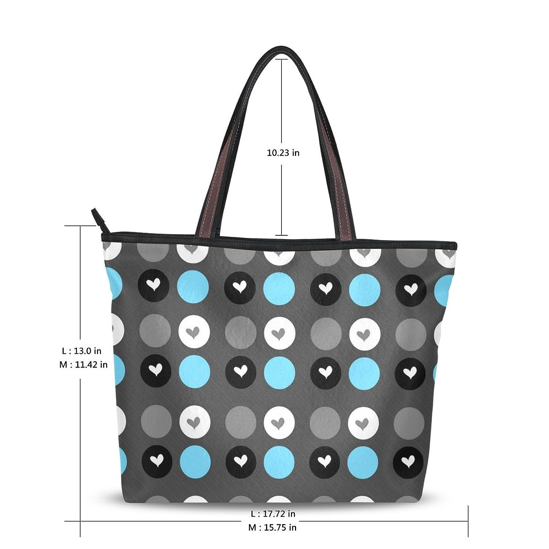 Women Large Tote Top Handle Shoulder Bags Polka Dot Ladies Handbag