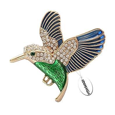008bf43acf948 NOUMANDA Hummingbird Brooch Pin Crystal Enamel Gold Emerald Bird Brooches  Jewelry for Birds Lover