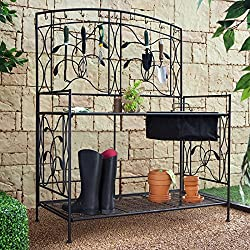 Coral Coast Willow Creek Metal Potting Bench - Black - RH11532-46W