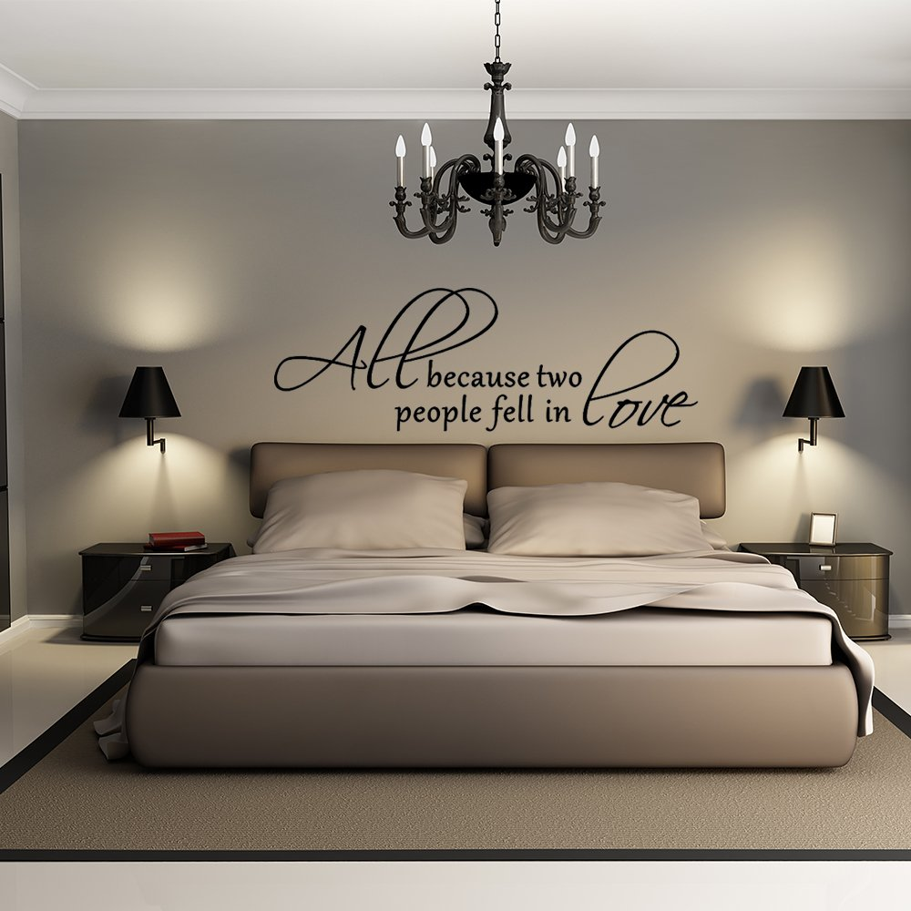 Amazon.com: All Because Two People Fell In Love - Wall Decal Love Words  Expressions Sayings Quotes Typography (Black, Medium): Home & Kitchen