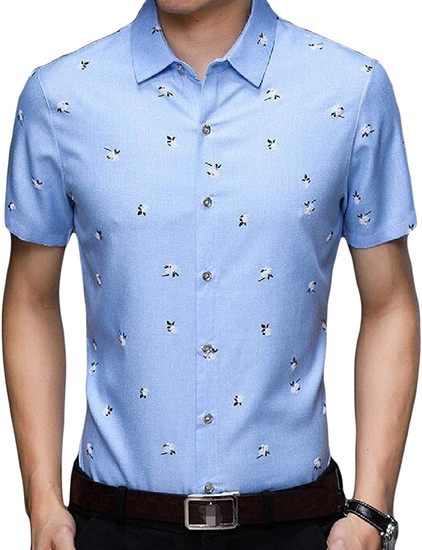 Joe Wenko Men Slim Fit Workwear Casual Short-Sleeve Button Up Shirts