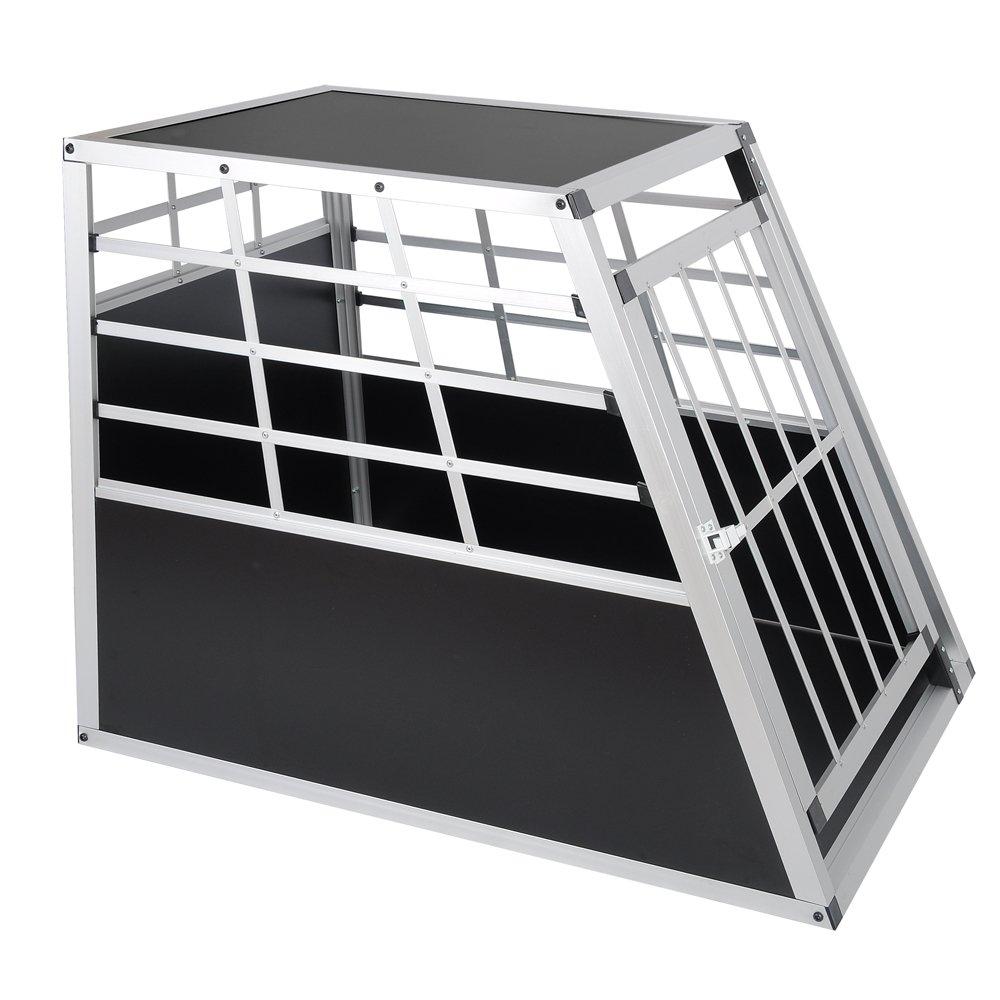colore nero E-starain Gabbie da trasporto per cani in alluminio 91x65x69cm porta-animali per viaggio gabbia per cani gatto animali piccoli