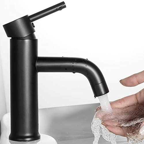 ANZA Bathroom Basin Sink Faucet with Pop-up Drain, Single Handle One Hole Lead-Free Brass Lavatory Faucet Supply Lines, Matte Black