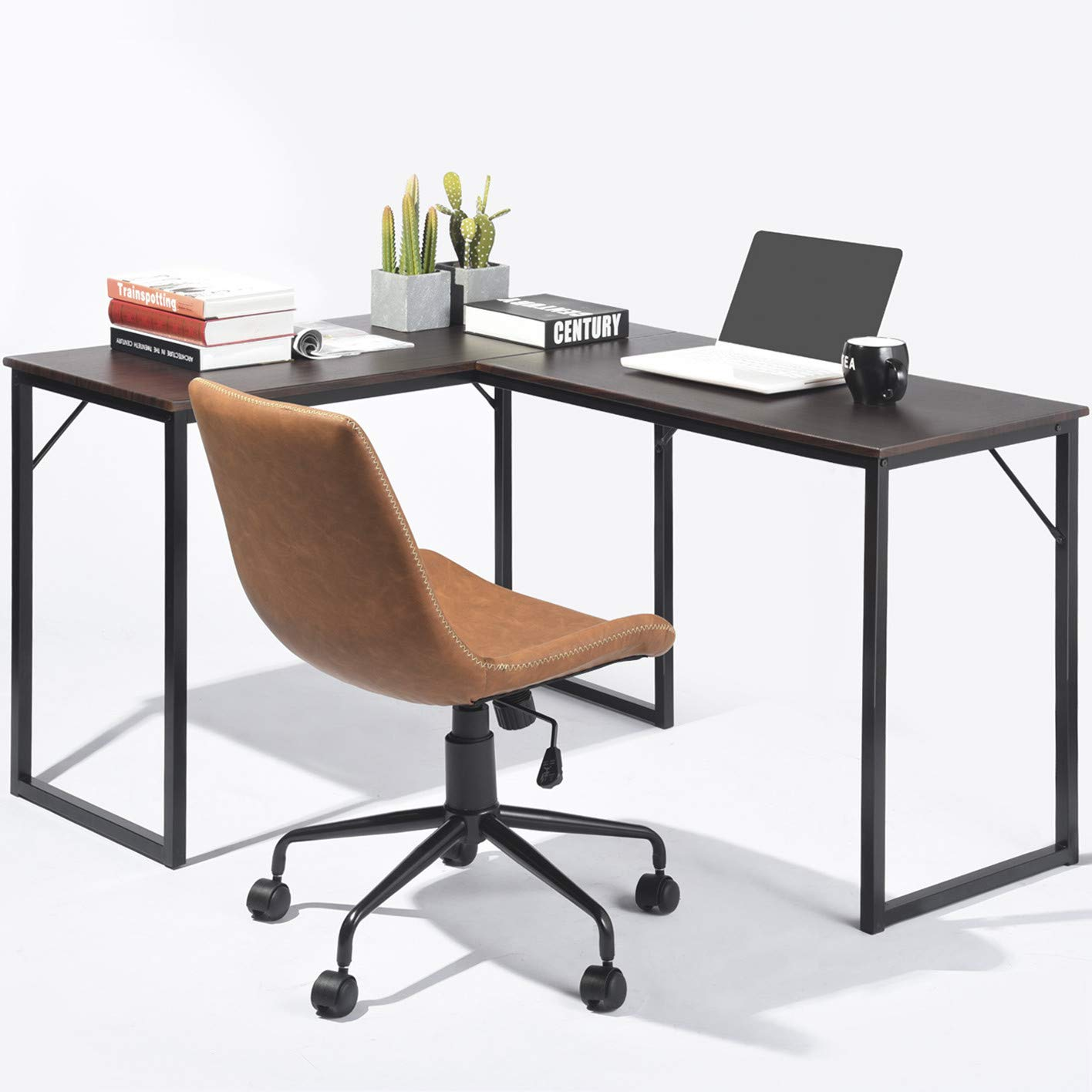 GreenForest L Shaped Corner Desk Home Office Computer PC Laptop Table Workstation with Metal Legs Easy Assembly,Espresso