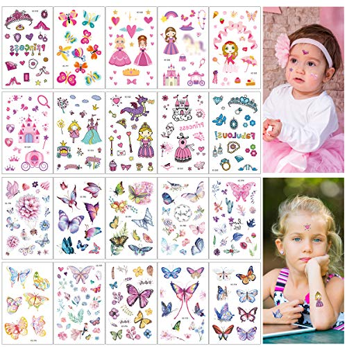 Cieovo Pack of 20 Sheets Glitter Temporary Tattoos for Kids Girls - Fun Sparkle Stickers Birthday Party Favor, Waterproof Body Stickers with Butterfly, Princess, Crown, Magic Wand