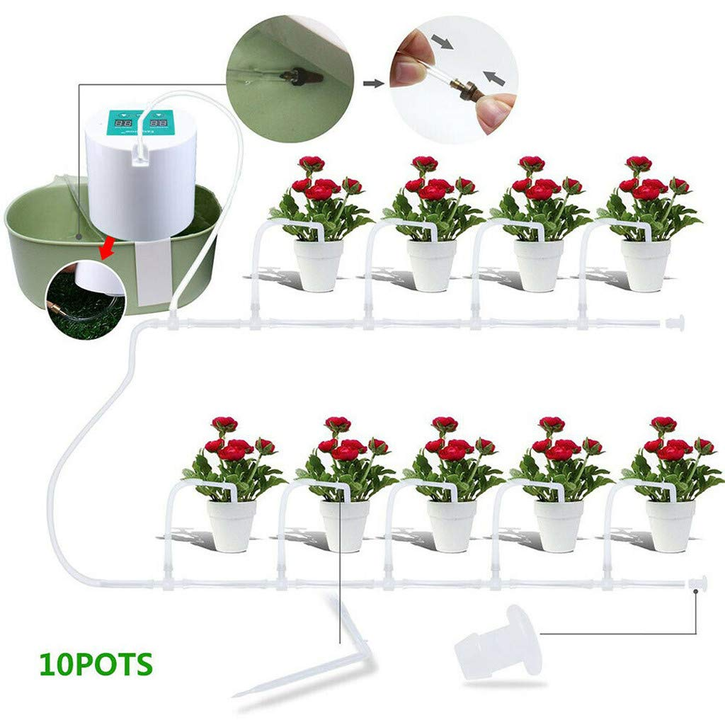 VEZARON Automatic Drip Irrigation Kit, Self Watering System, Vacation Plant Watering, Watering Can, Watering Interval Time Setting, for Indoor Garden/Potted Plants-Simultaneousl (White)
