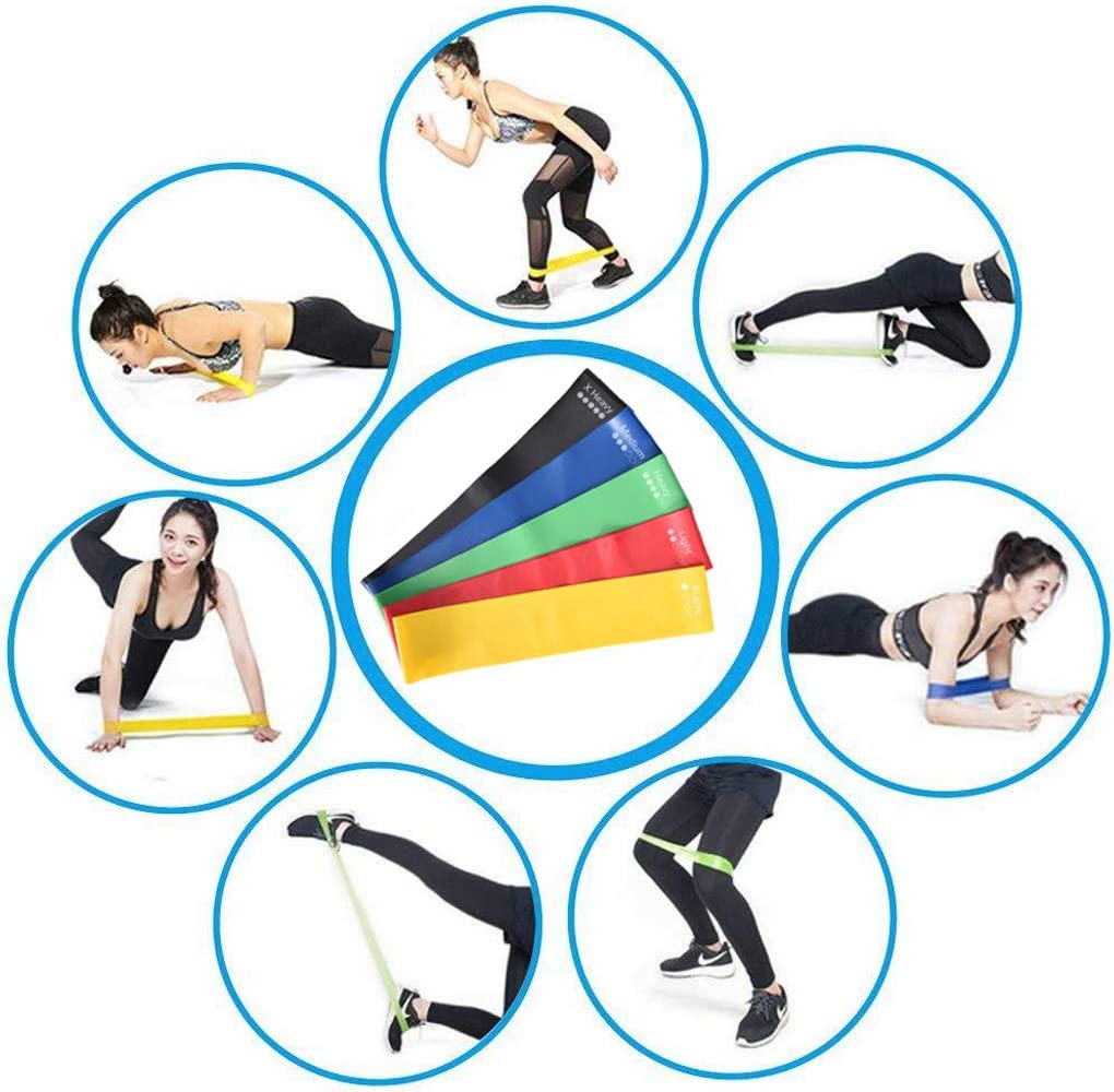 Stretching Strength Training,Natural Latex Workout Bands Pilates Flexbands,5Pcs Exercise Bands for Legs and Butt for Women,Resistance Loop Bands for Home Fitness Yirise Resistance Bands Set