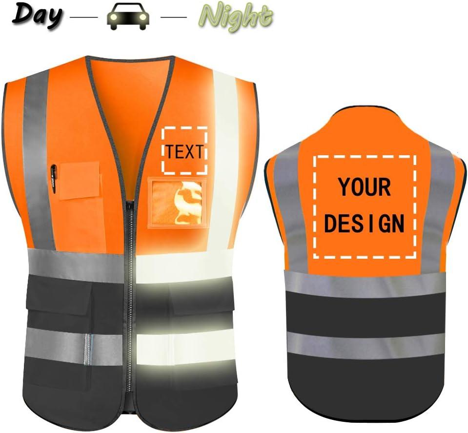 High Visibility Safety Vest with Reflective Strips Custom Your Logo Hi Vis 5 Pockets Outdoor Work Vest Blue 2XL