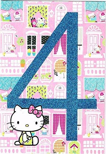Hello Kitty Edad De 4 Años Tarjeta De Cumpleaños: Amazon.es ...
