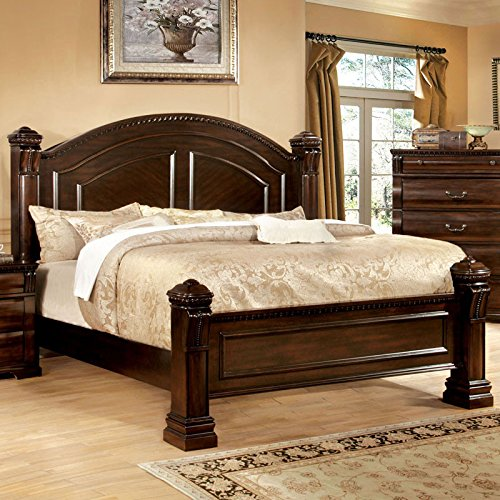 Burleigh Traditional Elegant Style Cherry Finish King Size Bed Frame Set