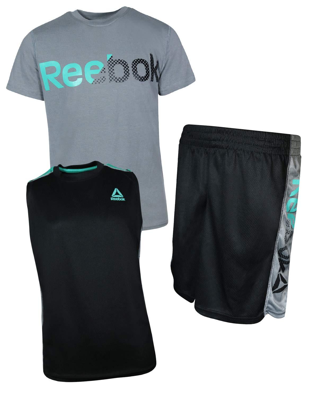 Reebok Boys' 3 Piece Athletic T-Shirt, Tank Top, and Short, Light Heather Grey, Size 8'