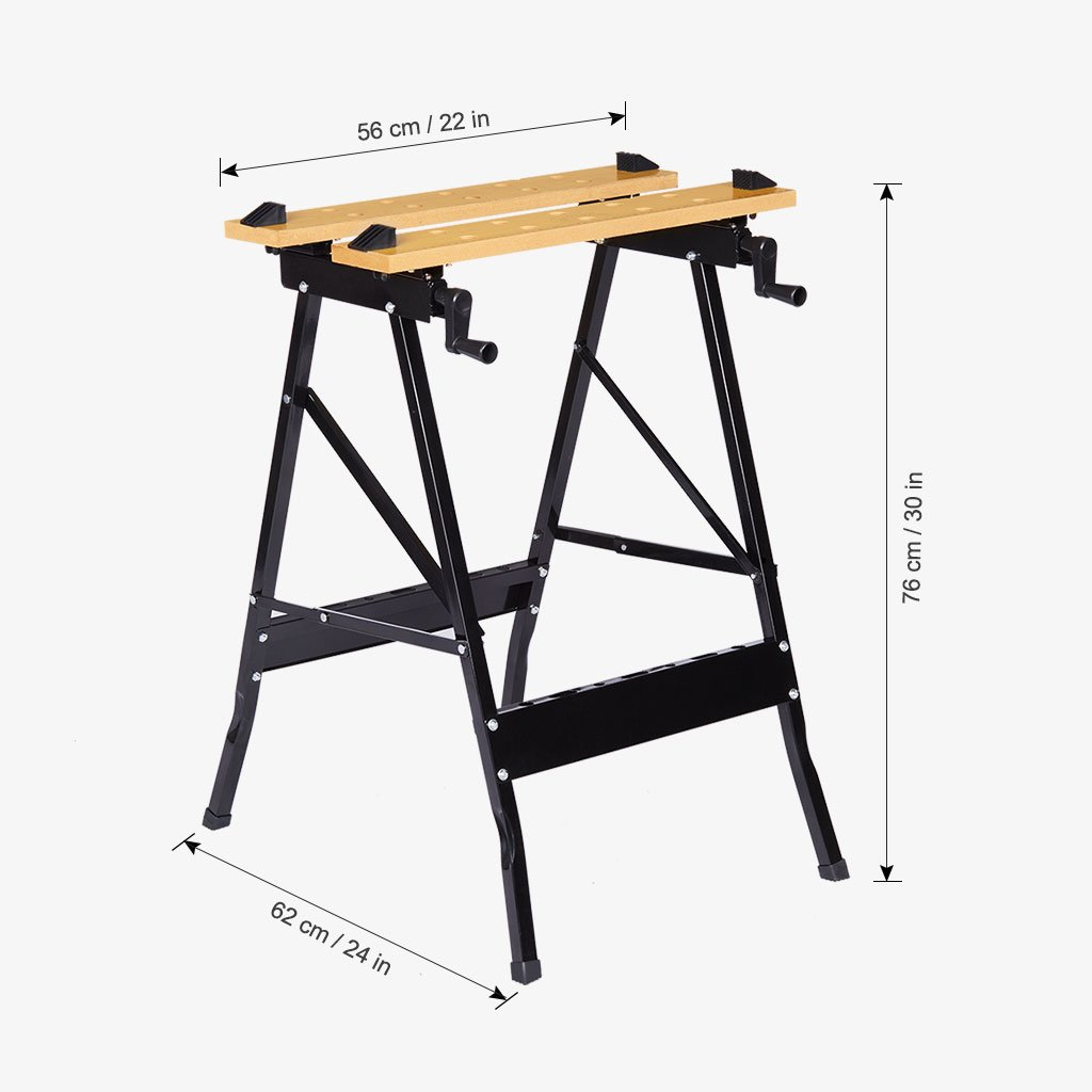 Finether Multi-Purpose Folding Workbench and Vice Portable Work Table Sawhorse with Quick Clamp Pegs and Tool Holders for Carpenter Builder DIY Enthusiast 331 lbs Capacity