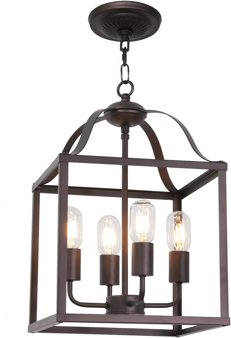 MELUCEE 4-Light Farmhouse Chandelier Foyer Lighting Oil Rubbed Bronze Finish, Bird Cage Lantern Pendant Lights Hallway Light Fixtures Ceiling Entry Chandelier Kitchen Island Lighting