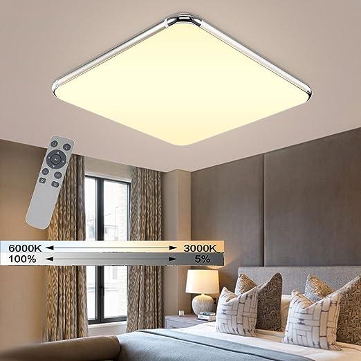 WYBAN LED Dimmerabile Plafoniere Lampada da parete con telecomando  (3000K-6500K) Per soggiorno Plafoniere camera da letto, Argento  (36W-Dimmerabile)