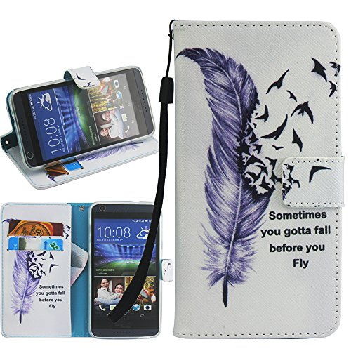 Kyocera Hydro Reach Case, Kyocera Hydro View Case, Harryshell(TM) Feather Wallet Folio Leather Flip Case Cover with Card Holder for Kyocera Hydro View C6742 / Kyocera Hydro Reach C6743 - Kyocera Wallet Phone Case
