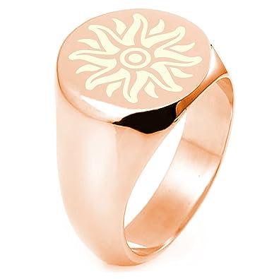 Rose Gold Sterling Silver Apollo Greek God Of Sun Symbol Engraved